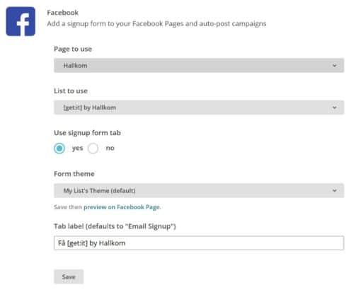 Hallkom-tip Facebook Mailchimp 4a