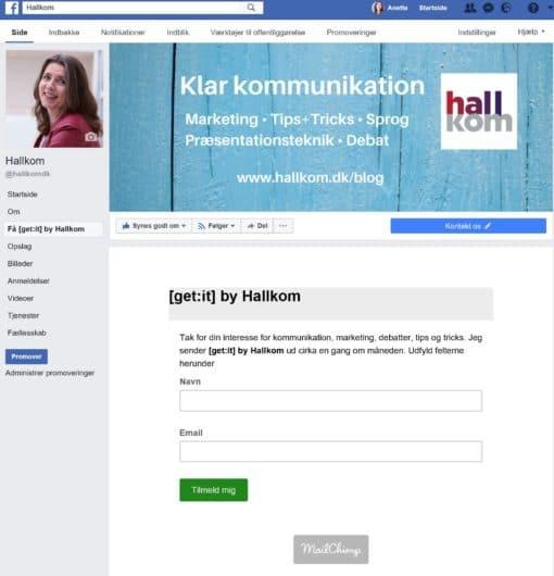 Hallkom-tip Facebook Mailchimp 5