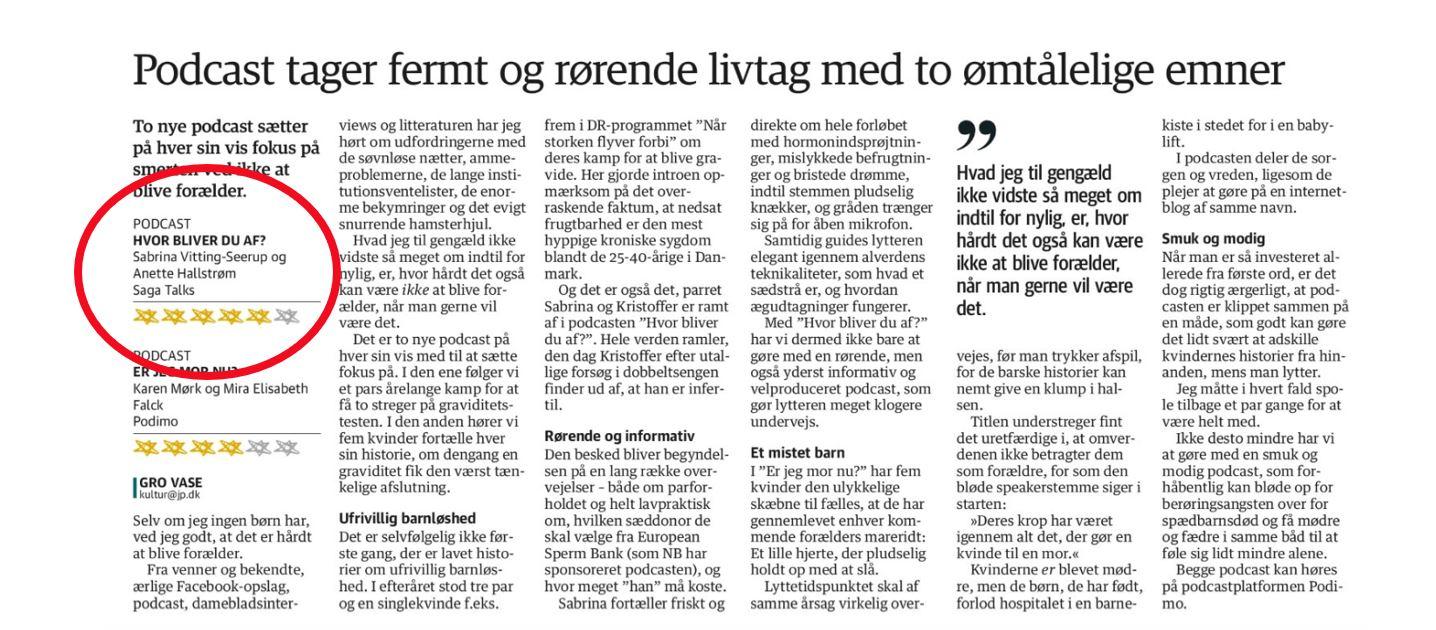 Hvor bliver du af anmeldelse i Jyllands-Posten